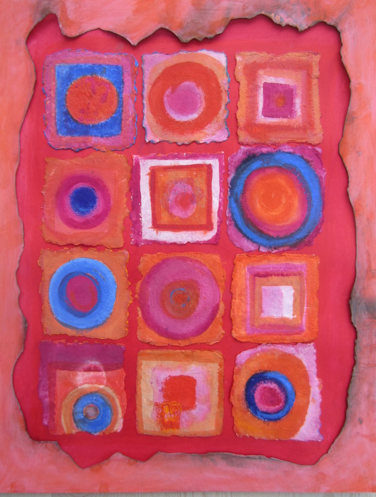 bright circles and squares on handmade paper