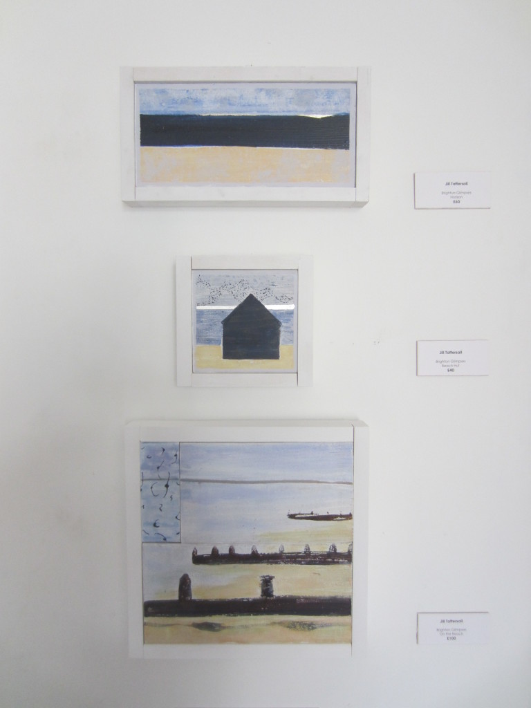 Brighton Glimpses: mixed media on cedar blocks.