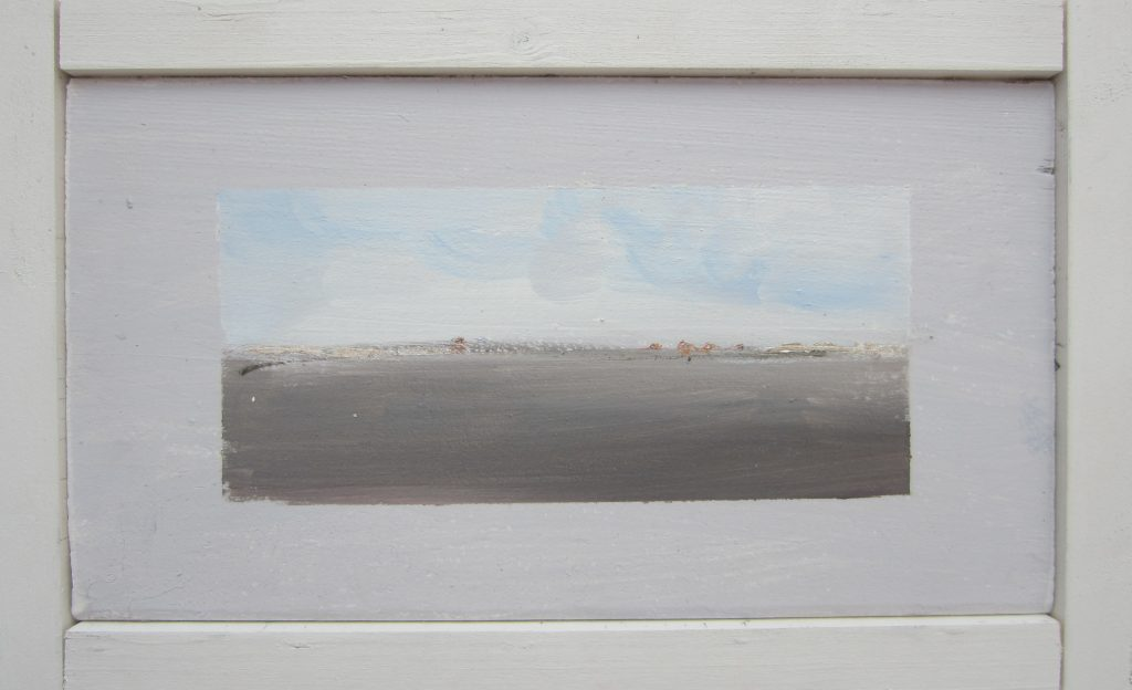 Tiny abstract on reclaimed cedar block, part of the 'Brighton Glimpses' series. Misty grey-brown hues.