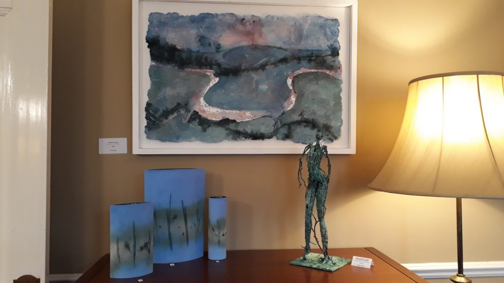Lovely colour and shape juxtaposition by Karen Hollis. Ceramics by Tessa Wolfe-Murray, sculpture by Robyn Neild and painting (now sold) by Jill Tattersall (me).