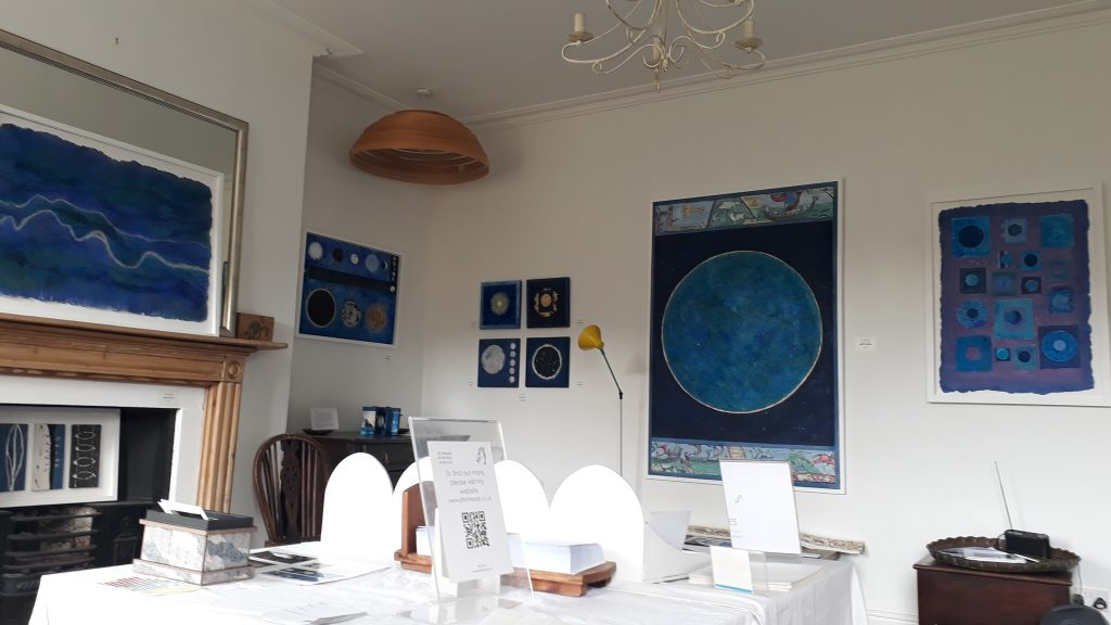 My upstairs gallery space, labelled for the occasion 'Dark Nights, Dark Skies'. Paintings of or seen from the sky.