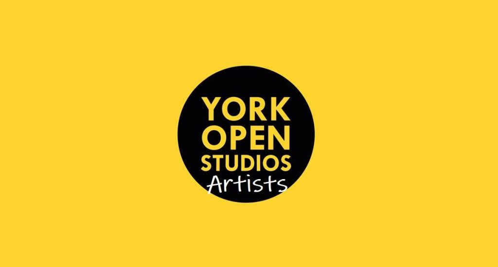 Bright yellow Artists' logo for York Open Studios 2020